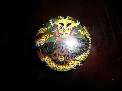 Antique Chinese Cloisonne Dragon Covered Box
