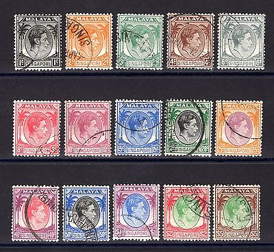 SINGAPORE KGV1 1948 sg1-15 GOOD TO FINE USED SET 1c TO $5 PERF 14 CAT £32