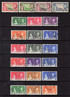 EMPIRE KGV1 1937 CORONATION FINE USED SETS x 7 DIFFERENT SETS CAT £38