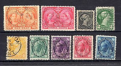 Canada Qv 1870 To 1902 Fine Used Range With 1897 Jubilee Issues Cat £42