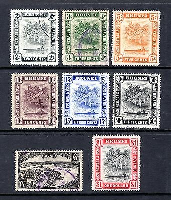 BRUNEI 1924 sg69 + 1947 sg80,81,82,85,86,89,90 FINE TO VERY FINE USED CAT £95