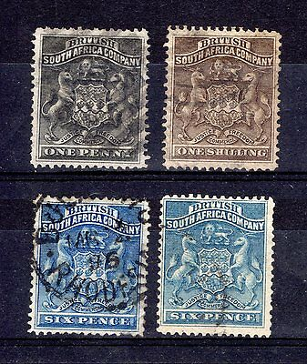RHODESIA BRITISH SOUTH AFRICA COMPANY 1892 sg1,2,3,4 GOOD TO FINE USED CAT £50+