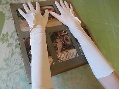"Vintage 18"" Long Opera Gloves Frilled Detail to Front and Wrist"