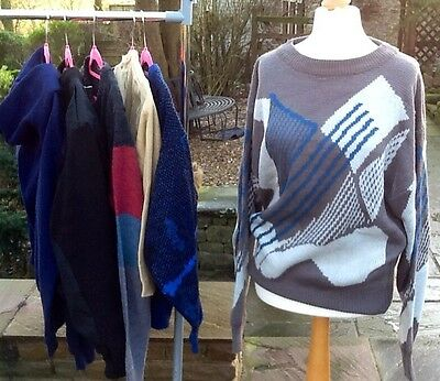 VINTAGE COLLECTION SIX  RETRO FUNKY GEEKY 80's JUMPERS M/L