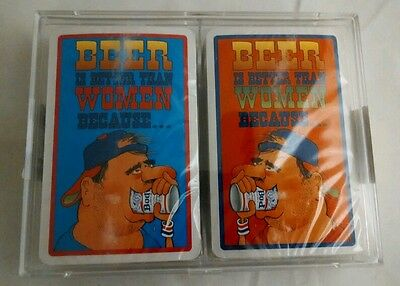 Vintage Sealed New Beer Is Better Than Women Because Novelty Playing Cards