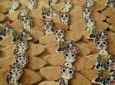 JOB LOT 10 HANDMADE CAT THEMED WOODEN  BROOCHES - party favours etc etc