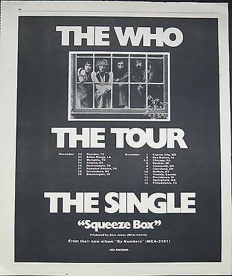 "The Who ""Squeeze Box"" US tour 1975 full-page ad + Bonus x 3"
