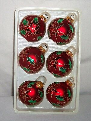 6pc Set Glass POINSETTIA Christmas Tree ORNAMENT Ball Red Gold Glitter Green