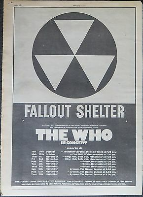 The Who Fallout Shelter UK tour full-page UK ad 1973 + tour reviews