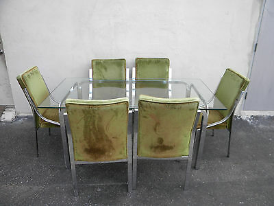 Mid Century MCM Chrome and Glass top Dining Table with 6 Chair 3621