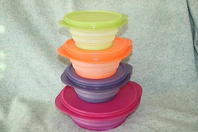 TUPPERWARE FLAT OUT Expandable Bowls & Lids 8 cup, 4 cup, 4 cup, 3 cup with lids