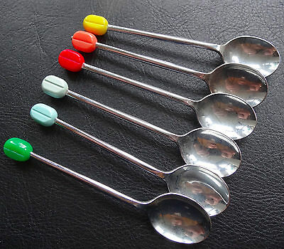 vintage set 6 multi colour coffee bean chrome teaspoons spoons mid century -D207