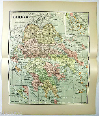 Original 1891 Map of Greece by Hunt & Eaton