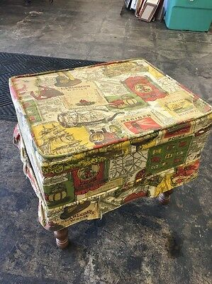 Vintage Early American Style Foot Stool Large Sewing Box