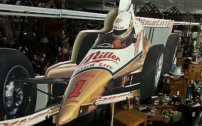 Vintage Miller High Life Store Ceiling Display Sign. Dbl. Sided. Indy Car Racing