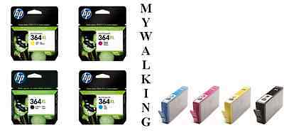4 Genuine 2015 Dated Hp 364 Xl Cartridges Black Cyan Magenta Yellow Fast Postage