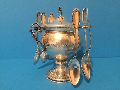 Solid 800 Silver Sugar Bowl with 6 Spoons