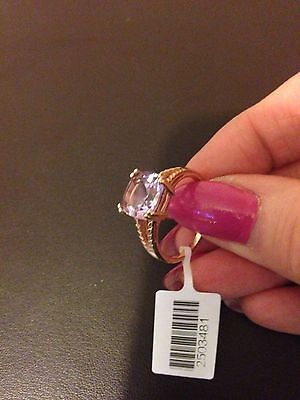 Rose De France Amethyst Solitaire Ring In Rose Gold Overlay S/Silver Size R