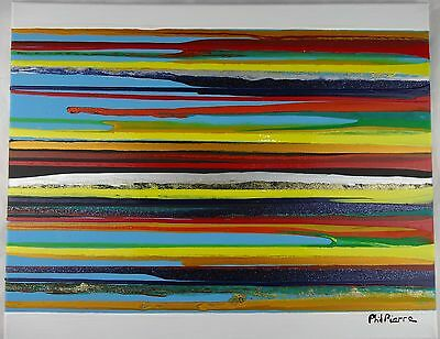 Phil Pierre - STRIPES 088 - new original abstract painting acrylic cotton canvas