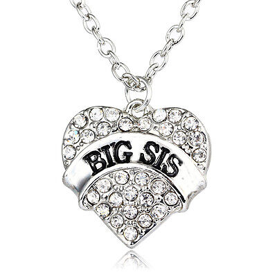 Clear Big Sis Necklace Pendant Family Love Fashion Gift Party Crystal Charm
