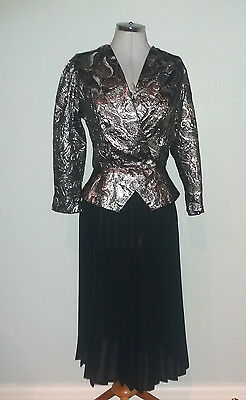 Vintage Gorgeous Silver Lame Xover Peplum Blouse / Top 8/10