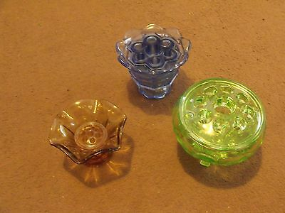 3 Art Deco Glass Vase Complete With Flower Holder / Frog