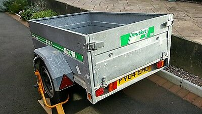 4X3 Galvanised Trailer with wheel clamp and towbar lock
