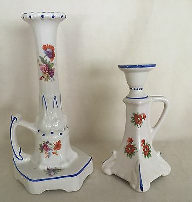 Antique Pair Czechoslavakia Porcelain Handled Candlesticks Hand Painted Flowers