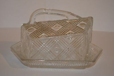 Art Deco Period Pressed Glass Cheese Dish With Lid