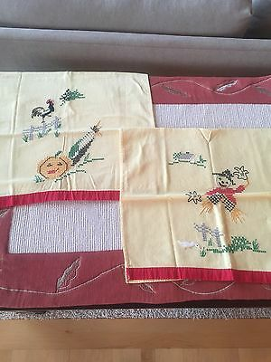 Two Vintage FALL Hand Embroidered Yellow Kitchen Towels