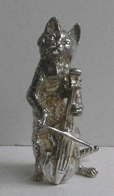 S J Rose & Sons  Sterling Silver Cat Orchestra Musician Playing Cello 1990