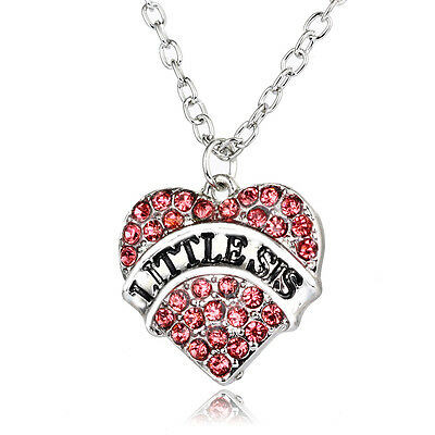 Pink Little Sis Jewely Hot Gifts Charm Women Crystal Heart Pendant Necklace Love
