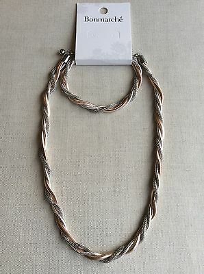 Statement Rose Gold & Silver Tone Twisted Rope Necklace & Bracelet - ONLY 2!