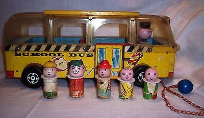 Vintage Fisher Price Pull Toy 1960/61 Safety School Bus #983-2nd Version