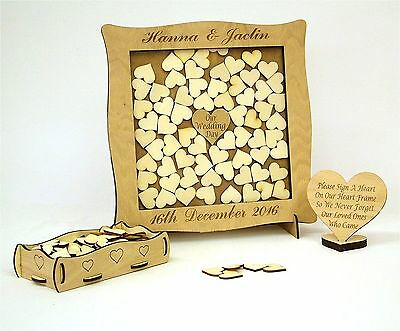 Wedding  Anniversary Guest Book Alternative Drop Box Hearts Personalised Oak yj3