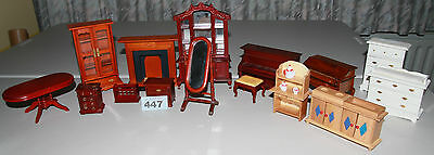 Lot 447 : mixed furniture bundle for 1/12 scale dolls houses