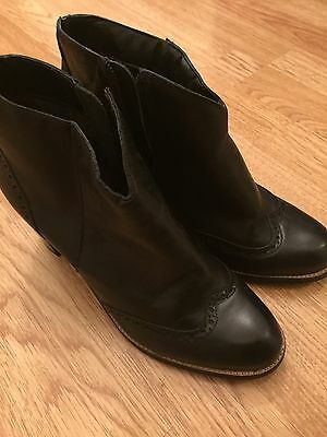 Next Black Real Leather Ladies Ankle Boots, Size 6.5/ 40