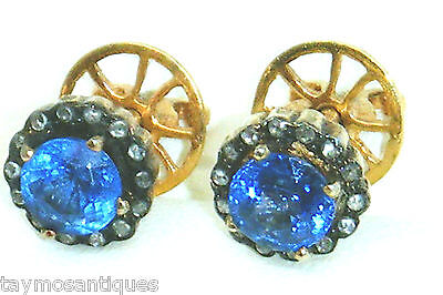 14ct gold Vintage Art Deco  sapphire and old mine cut diamond earrings