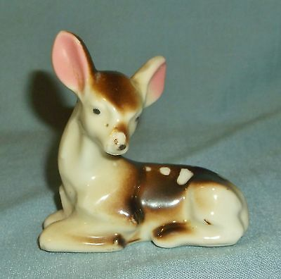 Vintage Porcelain Deer Fawn Figurine Laying Down