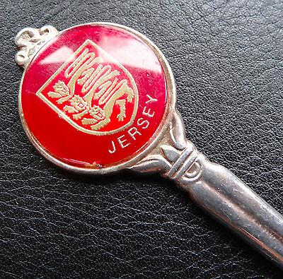 vintage Jersey 2 lion red tourist silver plate teaspoon spoon -C247