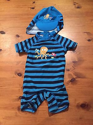 Gorgeous Boys Swimsuit Size 9-12 With Cap