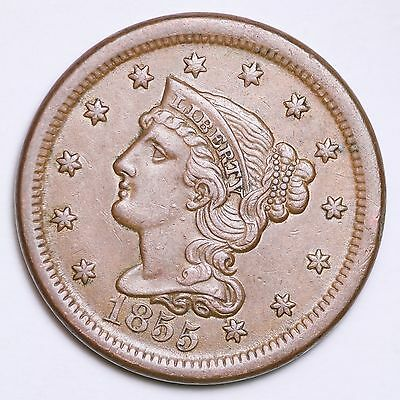 1855 Braided Hair Large Cent Penny CHOICE UNC FREE SHIPPING E117 APT