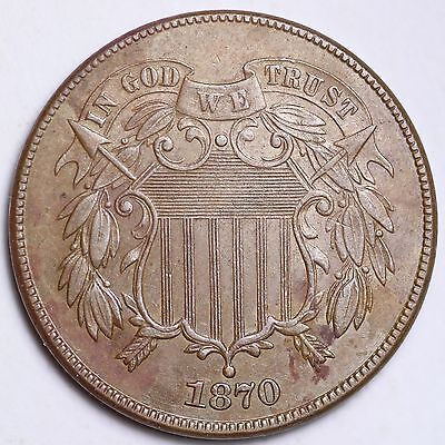 1870 Two Cent Piece CHOICE UNC FREE SHIPPING E215 CHE
