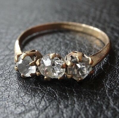 vintage art deco 3 clear stone rolled GOLD dress ring size 7 -N4