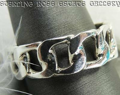 Men's Biker's Chain Sterling Silver 0.925 Estate Band RING size 12