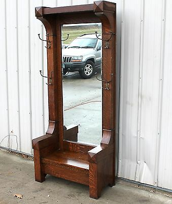 Arts Crafts Mission Quartersawn Oak Hooded Entrance Way Hat Rack Hall Mirror
