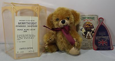 """Boxed Merrythought Small 6"""" Micro Cheeky Teddy Bear Bronze Mohair Ltd. Ed. T6Br"""