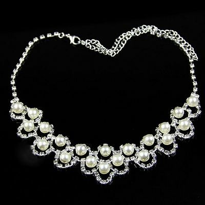 Women Hot Earring Party Bridal Silver Plated Gift Jewelry Set Crystal Necklace