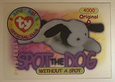 Spot the Dog Original 9 TY Beanie Trading Card Series 1 1793/5440 Red