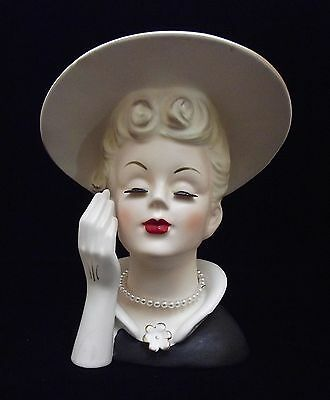 "6 5/8"" Lady Head Vase Headvase Blonde Glove, Hat & Black Dress ~ National 5047"